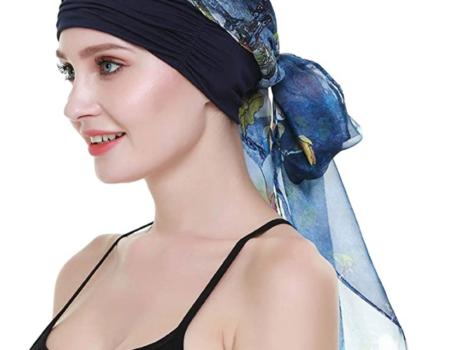 turbante azul tejido natural